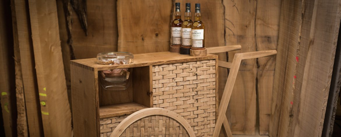 The Glenlivet Nadurra drinks trolley handcrafted by designer maker Sebastian Cox